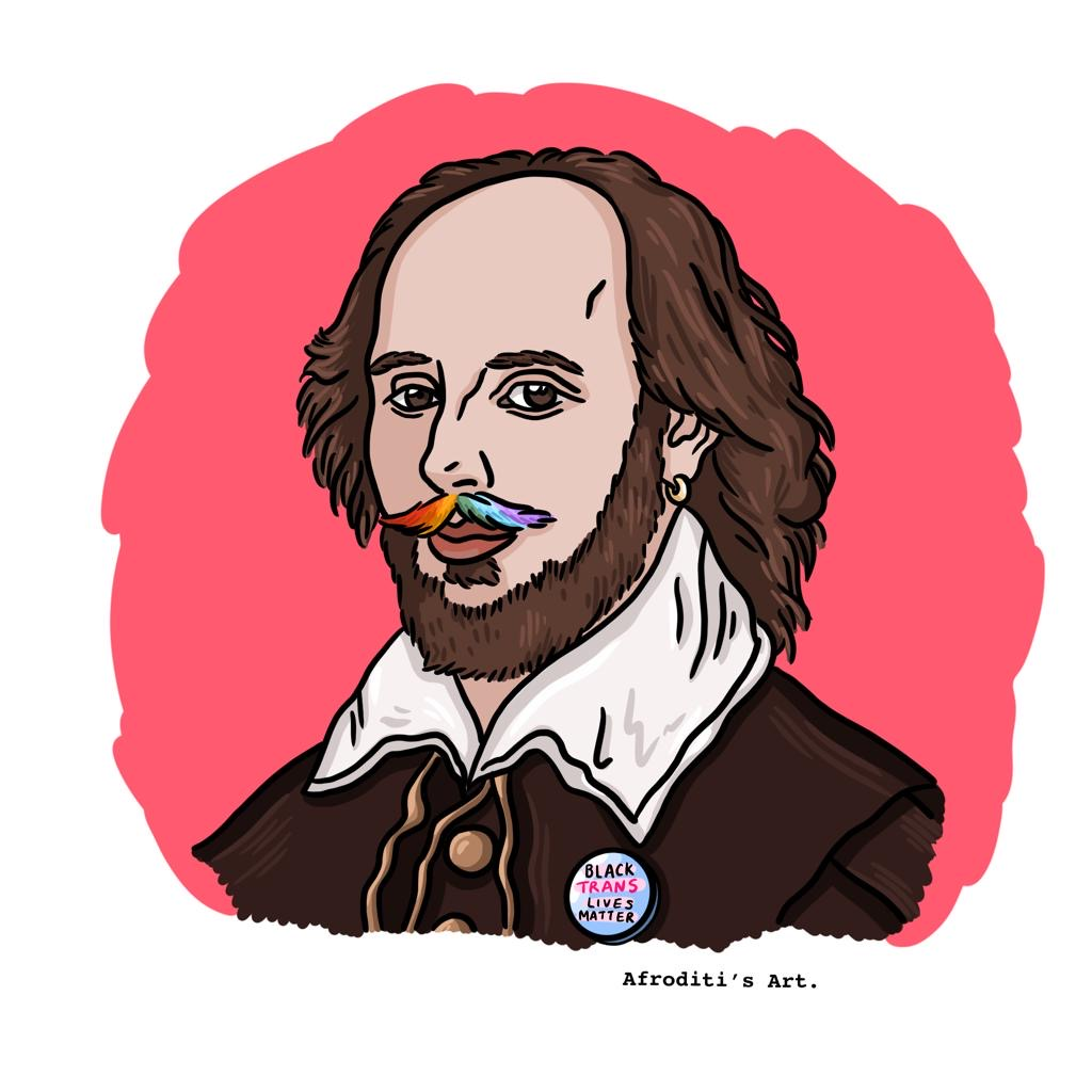 Shakespeare with a rainbow mustache